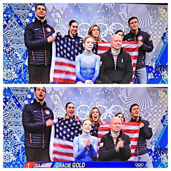 The before & after of @GraceEGold 's performance for @USOlympic in the Team Event!! #Sochi2014 http://t.co/fD9qn7asN7