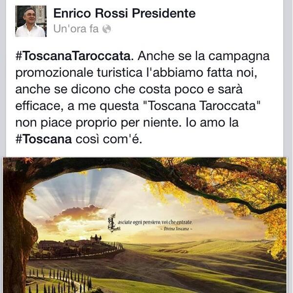 Presidente Regione #Toscana contro la nuova campagna di promozione turistica... della Toscana!  #toscanataroccata http://t.co/cm0bDEdyVv