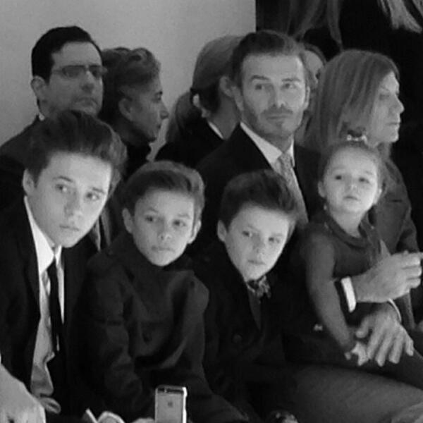 The whole Beckham gang sitting #FROW at Victoria's show! #nyfw