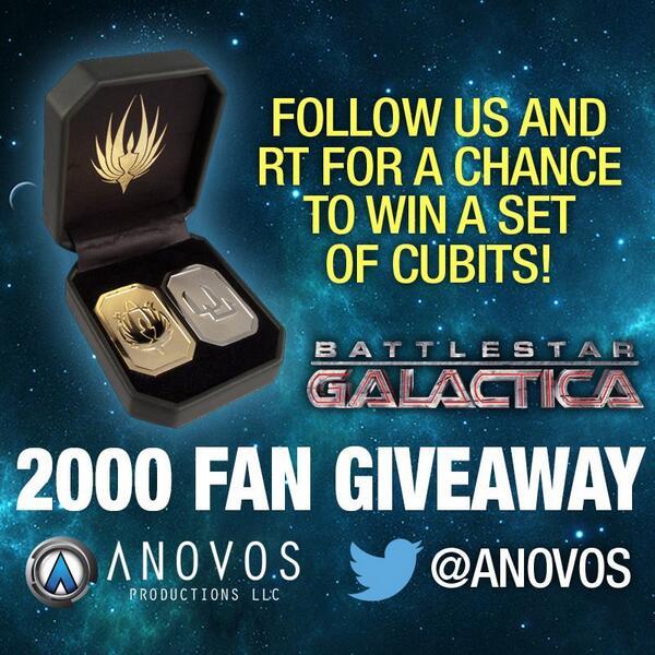 #BSG fans: RT & FOLLOW @ANOVOS for a chance to win a coined cubit set on 2/11/14! #SoSayWeAll #BSG10th http://t.co/2KyfHNQPR1