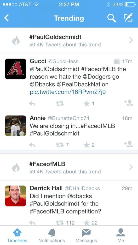 We're over 50,000 tweets and been trending all weekend long. Great work, Phoenix! #PaulGoldschmidt #FaceofMLB http://t.co/LEFdHQ3PCQ