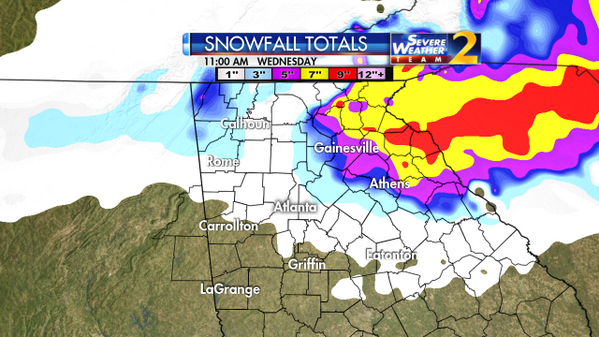 """Some parts of north Georgia could see 5-7"""" snowfall! These totals through Wednesday AM. #stormwatchon2 http://t.co/yH8DmEuDKm"""