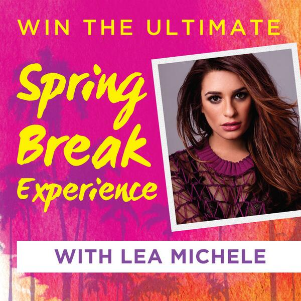 Wanna meet @MsLeaMichele in San Diego for the ultimate #SpringBreak? Enter to #win here: http://t.co/VYnMXkaz6y http://t.co/2wdxKptYv4