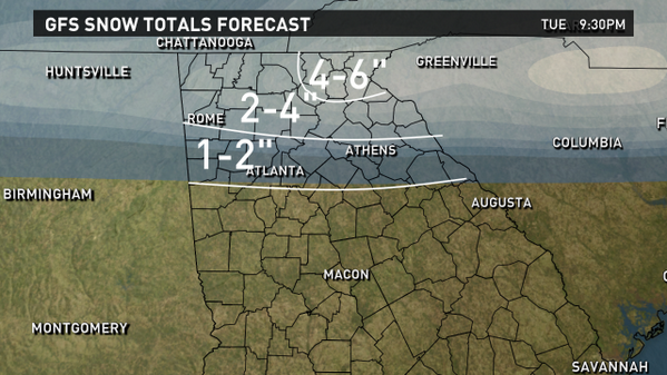 Here's 1 model scenario for snow totals Tuesday. We will be massaging these numbers as the system develops. #11alive http://t.co/AhhumI9wZo
