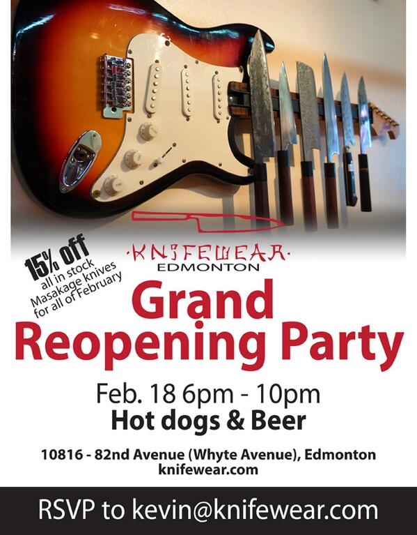 Hey Edmonton. Help us to celebrate the grand reopening of @knifewearyeg with beer, hotdogs and a knife sale. http://t.co/l2JcmppdKk