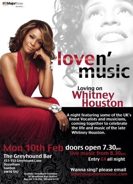 Whitney Houston Night on tonight..  The Greyhound Bar 151-153 Greyhound Lane London SW16 5NJ  #£4entry http://t.co/7k1lRxU4zm