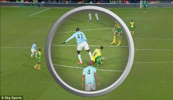 BgIGleyIUAAZn8b Best tweets as Man Citys Yaya Toure fortunate to escape FA punishment for kick in the back v Norwich