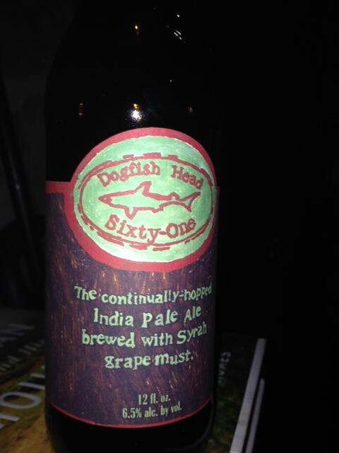 One of my favorite boutique breweries-Delaware's Dogfish Head-this an IPA fermented with Syrah must. #beer http://t.co/Wja7duVx8c