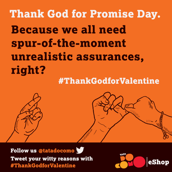 "Happy #PromiseDay!  Why are you ""thankful"" for Promise Day? Tweet your witty reasons with #ThankGodforValentine http://t.co/OOEuUat1J4"