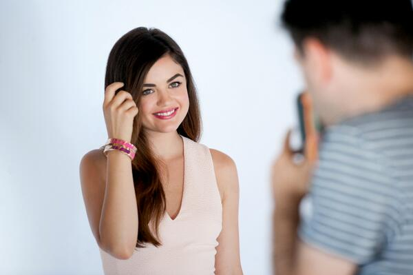 Behind the scenes action w/ mark Brand Ambassador @lucyhale shooting our m.powerment by mark bracelets! #prettysweet http://t.co/gaLyxZxku9