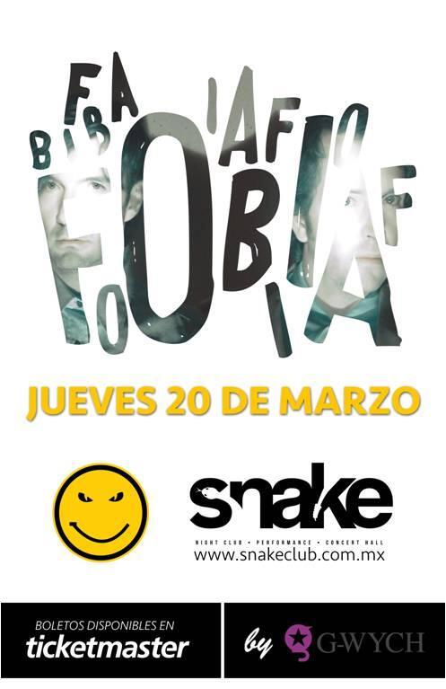 Fobia en concierto este 20 de marzo. http://t.co/3S6CcNUm6g