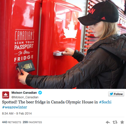 Yep, #TeamCanada has a beer fridge that can only be opened with a Canadian passport: http://t.co/tX4gGm1Iqu #Olympics http://t.co/vl6plEsuze