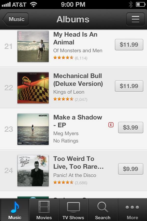 Whoa @megmyers EP just hit iTunes and is already #23 on the alt chart! Grab the noise--> http://t.co/GgInI7QQSx http://t.co/0tlDzsSZ3A