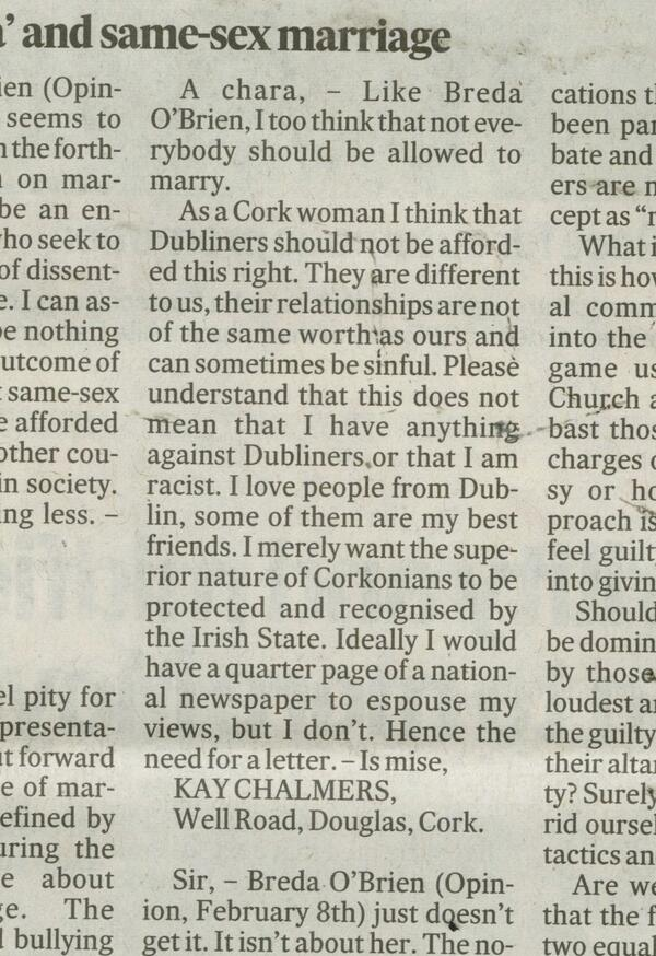 via @martynrosney: A #Cork woman on marriage equality in today's @IrishTimes http://t.co/I57F3cRSPo #equality #LGBT