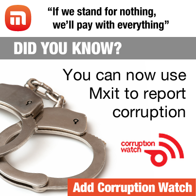 You can now use Mxit to report corruption with @Corruption_SA's new Mxit app http://t.co/ib6z2W48Vr