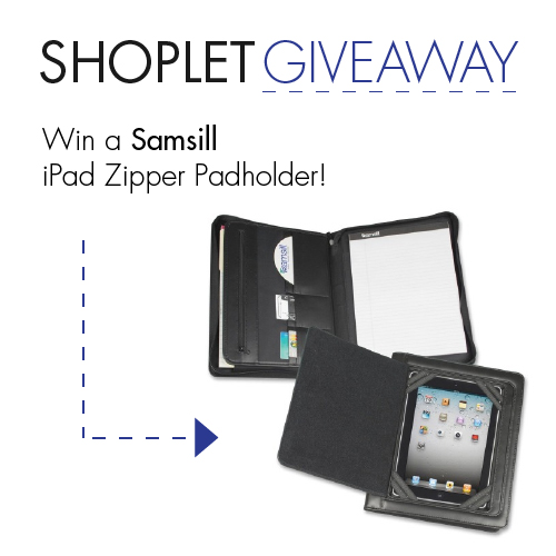 This week, we're giving away 3 Samsill iPad Zipper Padholders! RT, follow, & comment on //bit.ly/1m2siYj to #WIN! http://t.co/0HD7HMwp7r