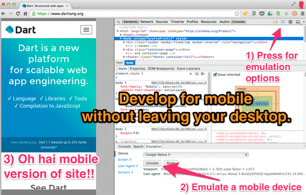 Develop for mobile web without leaving your desktop. Chrome DevTools protip. #mobilematters http://t.co/NiNo1rvC6v