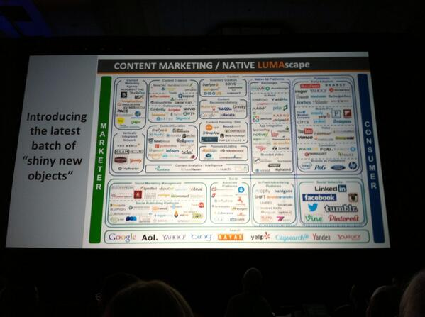 Terry Kawaja unveils the first LUMAscape for content marketing / native advertising. #IABALM http://t.co/mu2yr75mrn