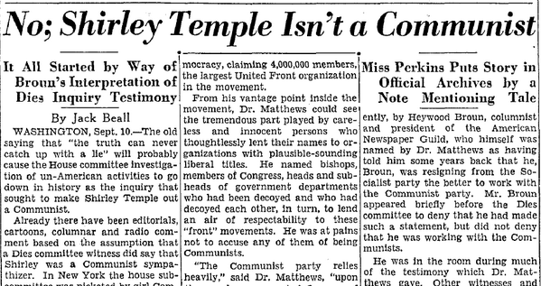 In 1938 the US Congress debated whether Shirley Temple was a Communist. She was ten. http://t.co/BZh7LoKxrU