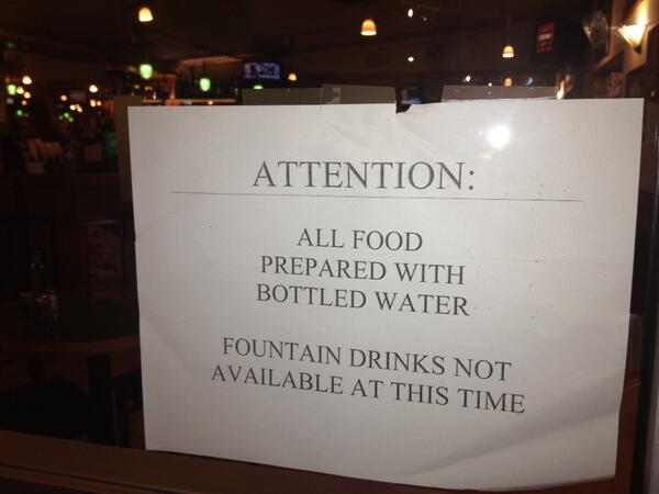'All food prepared with bottled water'. West Virginia dining 1 month after chemical spill http://t.co/53cwTbHPRt