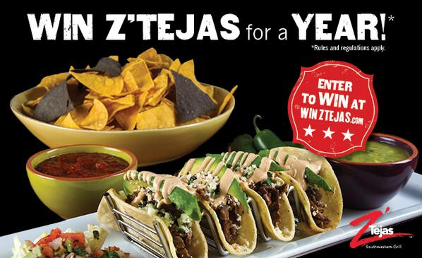 Visit http://t.co/Md5lb6U5t7 to enter to win Free Z'Tejas for a Year! That's 800 Street Tacos during #happyhour http://t.co/CP5UtOWFCr