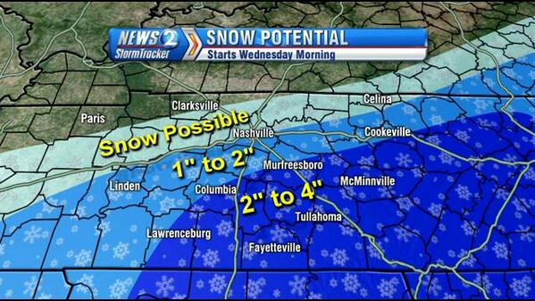 Snow expected in parts of Middle Tenn. Wednesday>>> http://t.co/NjJjOYl0zW http://t.co/u2VRxcqolP