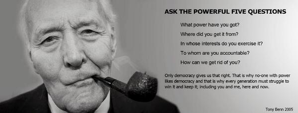I have just heard that #TonyBenn is poorly in hospital.  Don't be sad. Just think and ask his five questions http://t.co/4DFCyDnAyU