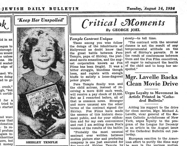 Old @JTAnews Shirley Temple photo, published in the 1934 Jewish Daily Bulletin: http://t.co/CzmK2yzUxD http://t.co/RgrstzHDya