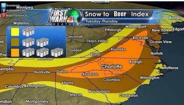 Lauryn Ricketts (@laurynricketts): Now THIS is a weather map - #Snow in relation to how much #beer to buy. http://t.co/WHOCrEdV8H