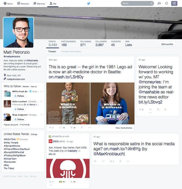 Twitter testea un perfil rediseñado enfocado en multimedia http://t.co/47TXB5SbKw http://t.co/OcoPxOnVeT