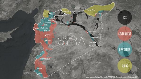 Who controls what in #Syria? Make sense of it w/ our map via @Evan_Wexler & @sarah_childress : http://t.co/wNrKtoIxxx