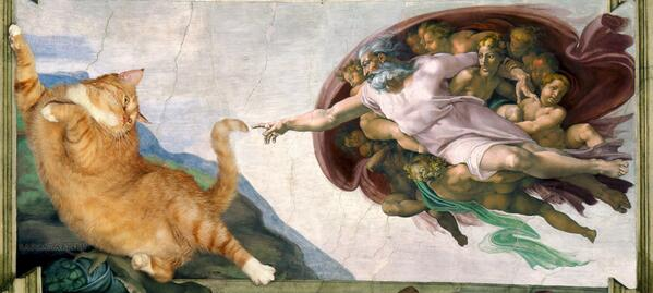 """ダリの絵を検索していたら、こんなサイトを見つけた。世界中の名画にデブ猫を入れ込んでいる。""""Great Artists' Mews"""" http://t.co/nZ4RVPgD01 http://t.co/a8NTVrbdtP"""