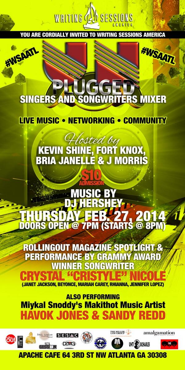 2.27 #WSAATL Unplugged @ApacheCafe hosted by @Kevin_anr_Shine @FORTKNOXLIVE #SINGERS #WRITERS @iamBriaJanelle http://t.co/xkHF0CIAee