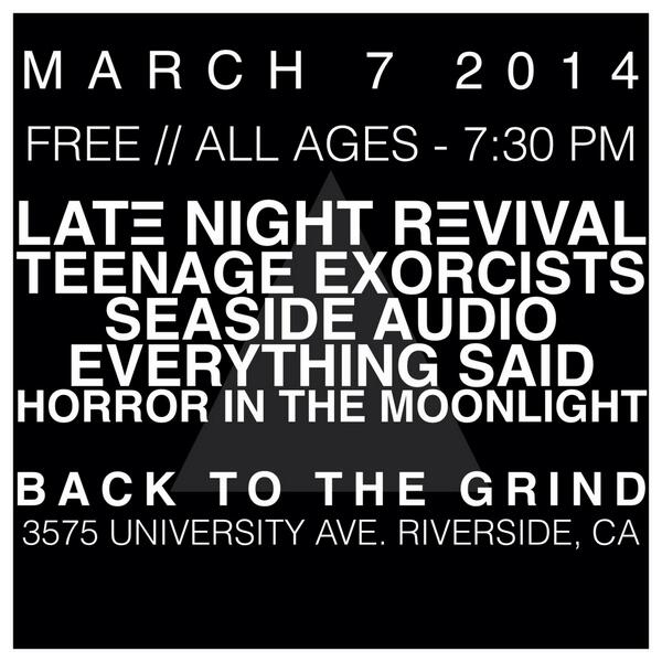 Free show in Riverside, CA on March 7th! http://t.co/mJyEp7R5Xl