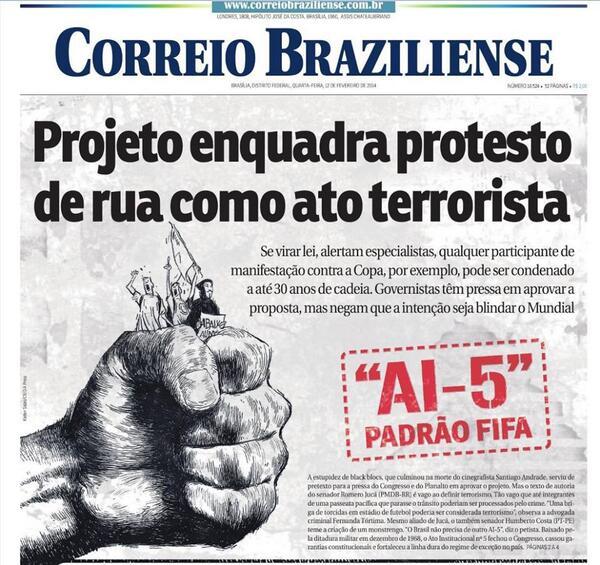 "Muito corajosa a capa do Correio Braziliense sobre a ""Lei Antiterrorismo"" http://t.co/Ku8jgYME8E"