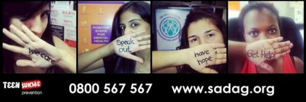 1 in 5 teens attempt suicide! Help is a FREE call away! @TheSADAG is waiting to listen #stopteensuicide 0800 567 567 http://t.co/pMUawZRNMD