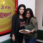 .@SunnyLeone with @menehaaaaa after the mazzedaar interview! Yes that is Sunny! :)) Jee bhar ke dekhlo!! http://t.co/kTuLaQg45o