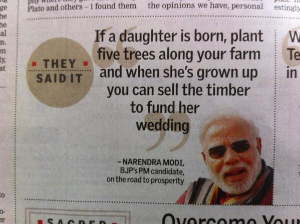 Narendra Modi's version of women empowerment is good for the environment till the girl doesn't get married? Slow clap http://t.co/Tu1fbzalIx