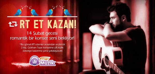 Romantik bir 14 Şubat için bu görseli RT et @gokhantepemusic'in konserine çift kişilik davetiye kazanma şansı yakala! http://t.co/CoKnLzg9CB