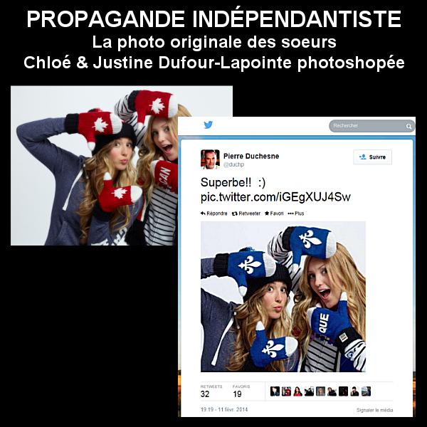 Médaille d'or du #fail RT @PierreMorinQc: Les soeurs Dufour-Lapointe passent au photoshop du @partiquebecois... http://t.co/SRxSlarCyV