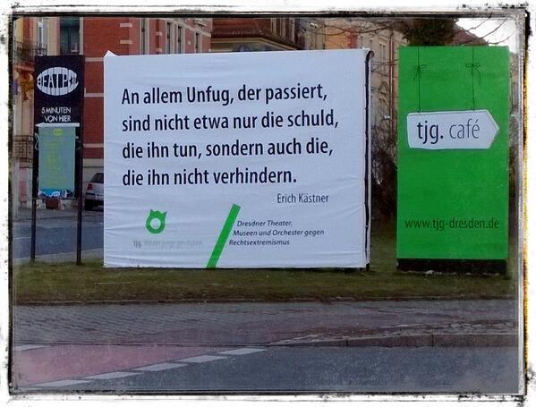 Gute Aktion der Dresdner Kulturstätten gegen #13Februar Nazis  — at tjg. theater junge generation http://t.co/BleGLE7lkh