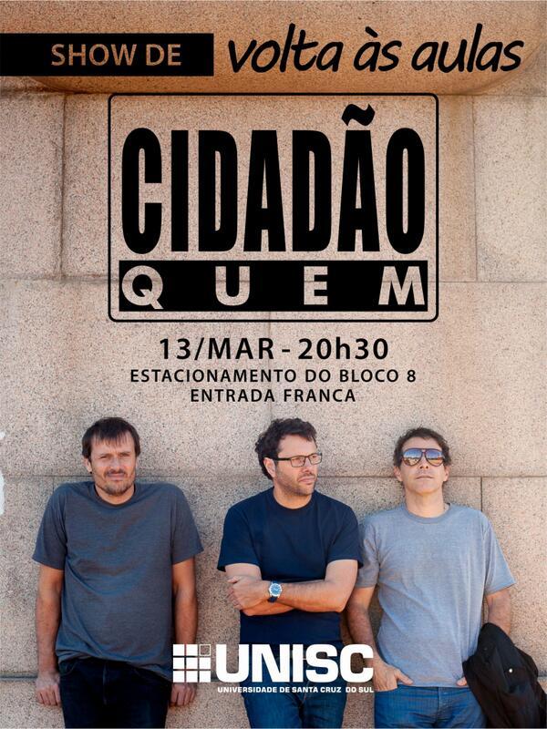 Dia 13 de março tem Show de Volta às Aulas, com a Cidadão Quem! \o/ http://t.co/eQKCx7NYEe