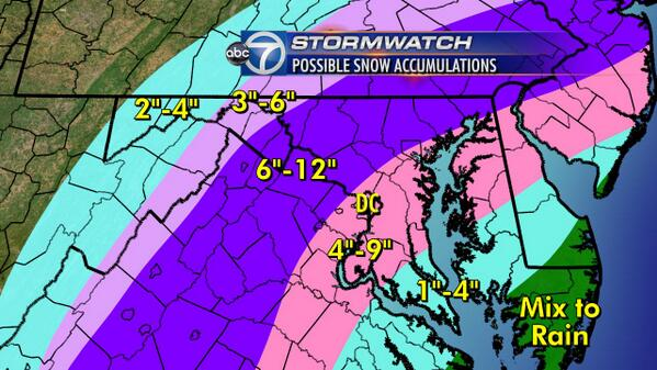 Lauryn Ricketts (@laurynricketts): Here we go! Latest #snow totals maps with all the latest information-change to mix = less snow in DC @wtop @ABC7News http://t.co/bAtx22rd3e