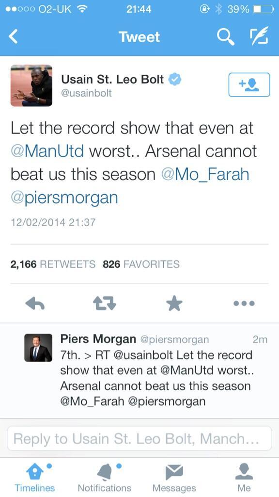 BgTiVLOIIAAJxEx Man United fan Usain Bolt mocks Arsenal on Twitter, Piers Morgan swiftly reminds him of league position
