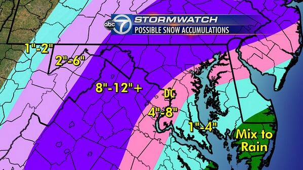 Lauryn Ricketts (@laurynricketts): As promised- last and final #snow total map. Tweaked west-mix thurs will keep DC/S.Maryland down @WTOP @ABC7News http://t.co/o5EHqJe5Sl