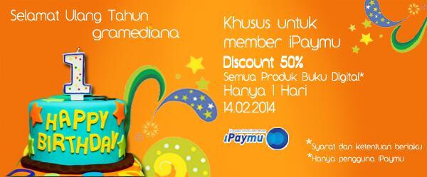 Rayakan Hari Kasih Sayang dgn belanja ebook di @gramediana & dptkan diskon 50% menggunakan iPaymu #iPaymuPromo http://t.co/orvQOOXDN2