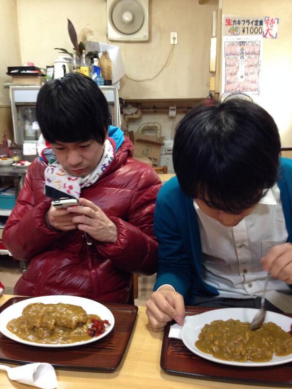ブロードと打ち合わせからの飯。2人でカレー食ってるのが可愛らしい(^^) http://t.co/X3YSq6xcbp
