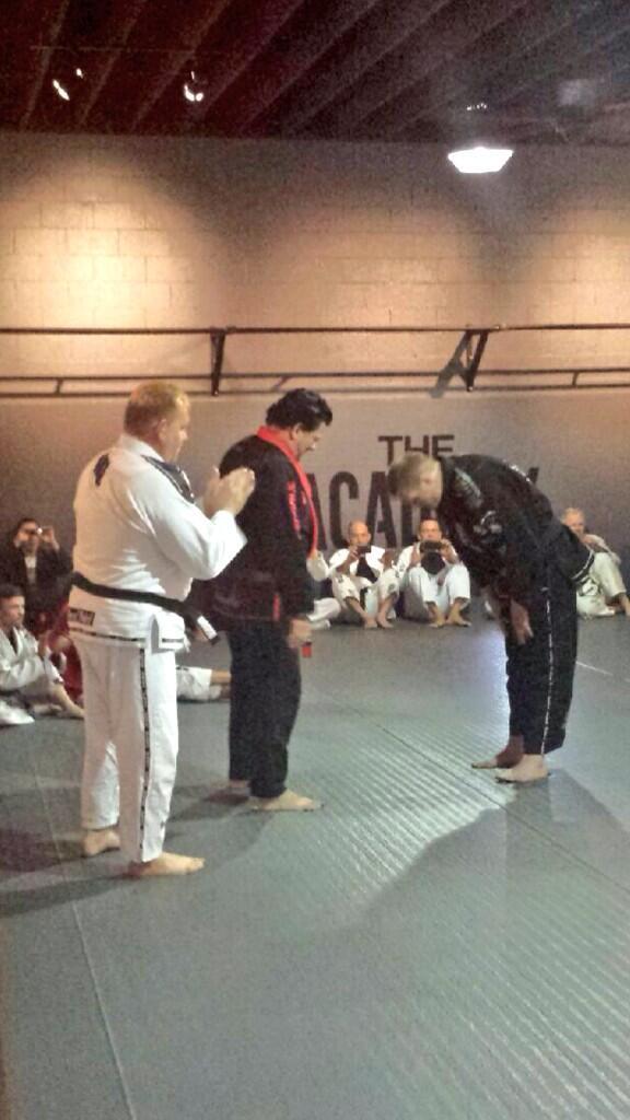 The Warmaster @JoshLBarnett receiving his 2nd degree black belt from Rigan Machado & Erik Paulson. http://t.co/3ekM1e5Axb