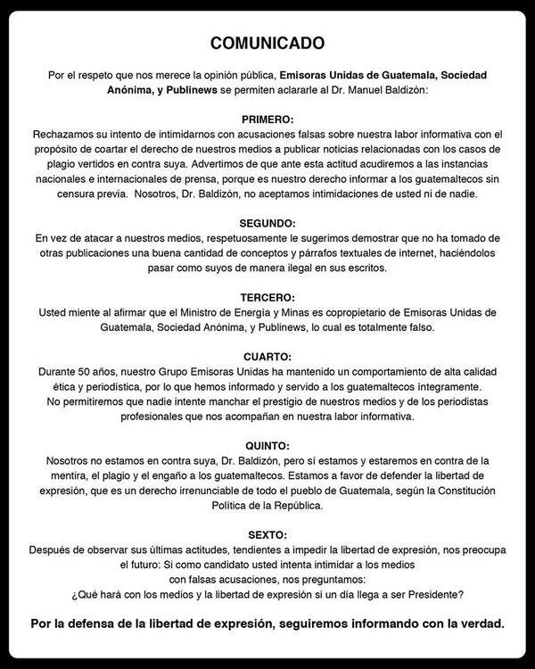 #ComunicadoABaldizón Emisoras Unidas de Guatemala, Sociedad Anónima y Publinews  al Dr. Manuel Baldizón http://t.co/qOTcXs9d7U