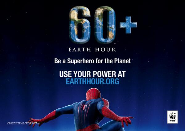 Join #SpiderMan, the first superhero ambassador for @earthhour and use #YourPower http://t.co/3OZOW8Vefi #EarthHour http://t.co/f625FYNoow